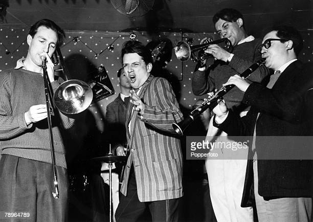 circa 1951 George Melly born 1926 British jazz and blues singer pictured singing with the jazz band
