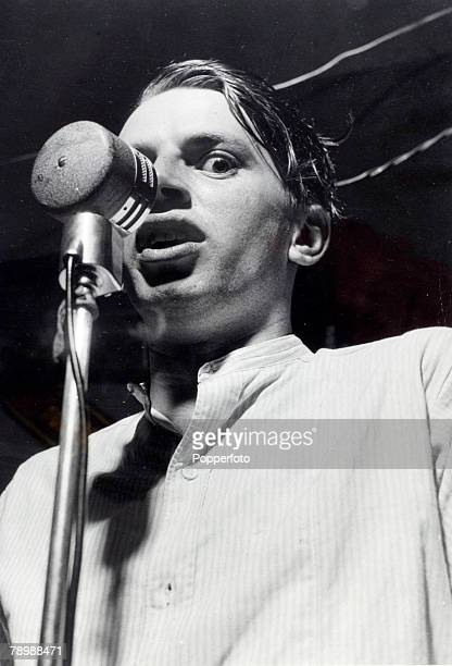 circa 1951 George Melly born 1926 British jazz and blues singer pictured singing at the Delta River Jazz Club Old Compton Street London