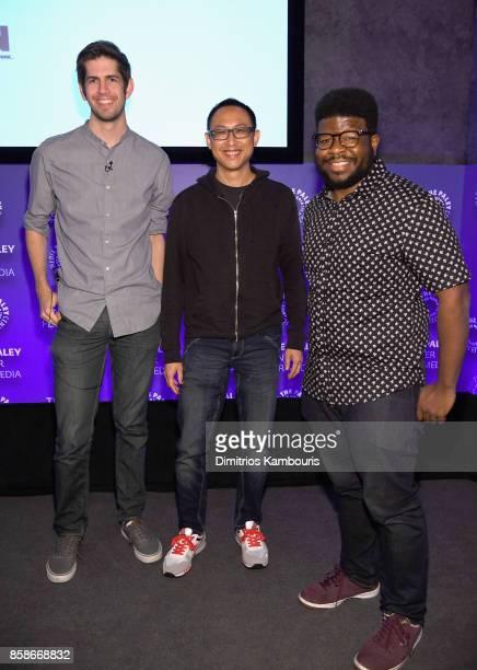 Entertainment News Editor at Inversecom James Grebey Executive Producer of Ben 10 John Fang and Creator of OK KO Ian JonesQuartey pose for a photo...
