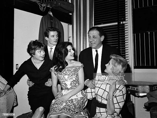 1961 Stars of entertainment LR Shani Wallis Tim Connor Sylvia Sands Syd James and Liz Frazer at a reception to launch Sid James' 'Ooter Song Disc'