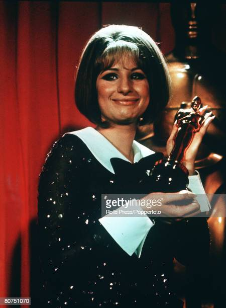 1969 Barbra Streisand with her Oscar at the Academy Awards on 14th April 1969