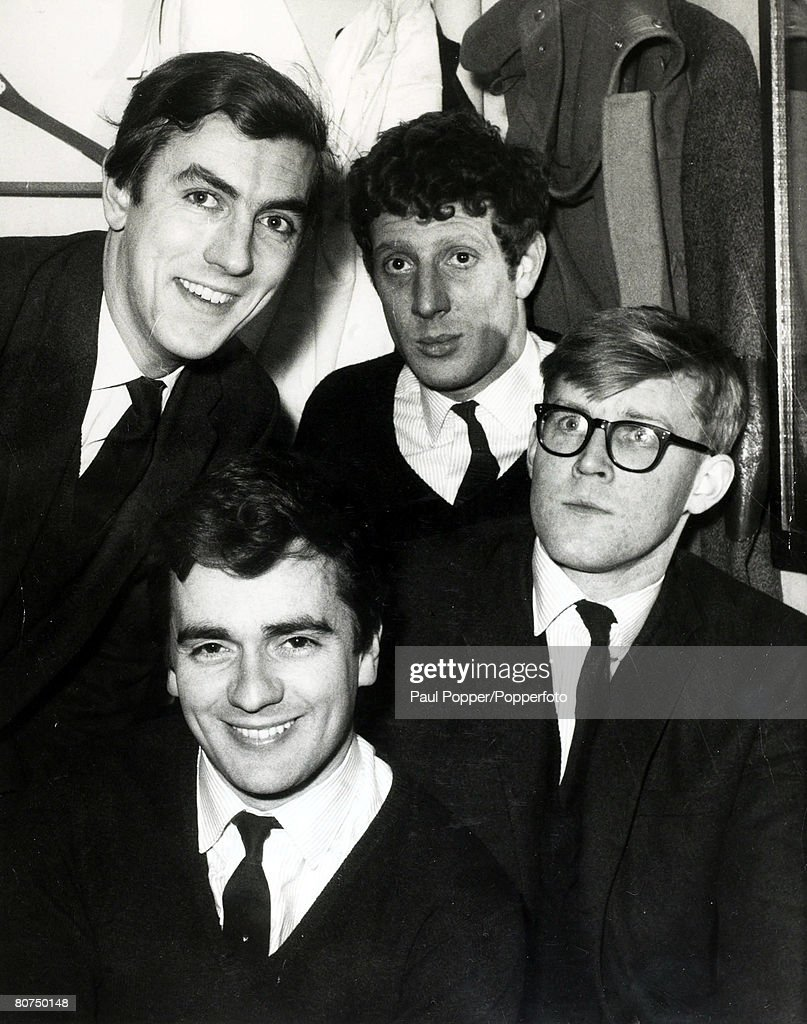March 1962 The four members of the antiestablishment revue 'Beyond the Fringe' backleftright Peter Cook Jonathan Miller and front leftright Dudley...