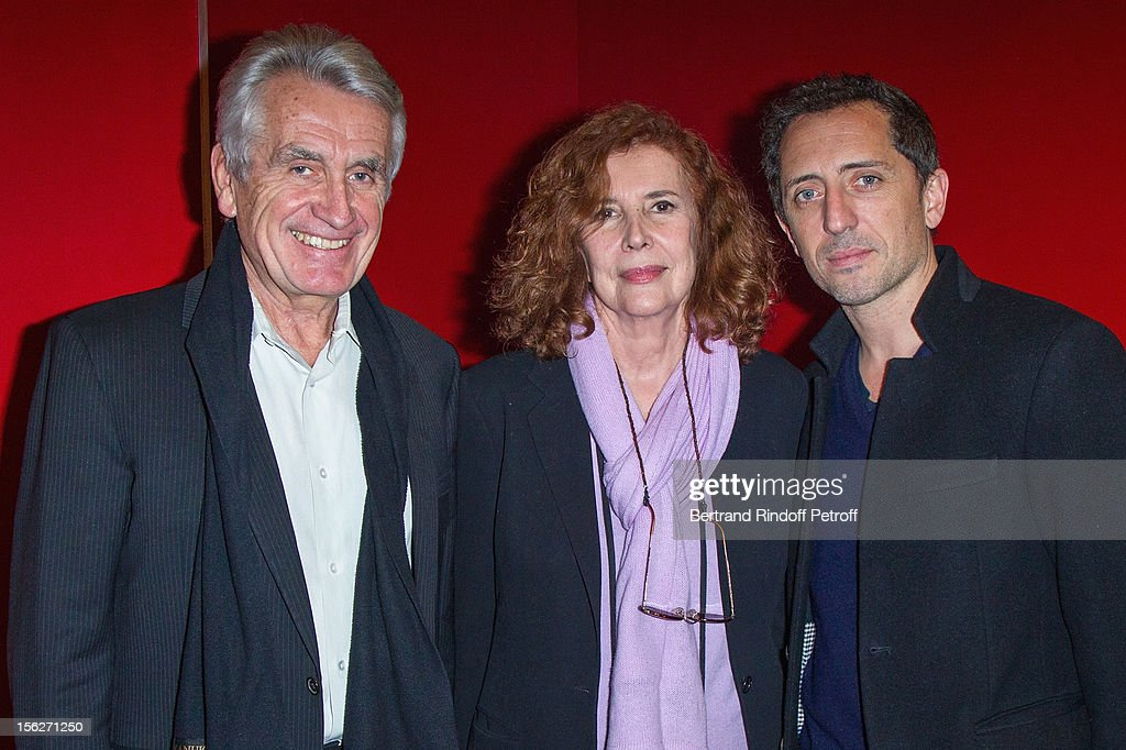Entertainment producer Gilbert Coullier, movie producer Michele Ray-Gavras and actor <a gi-track='captionPersonalityLinkClicked' href=/galleries/search?phrase=Gad+Elmaleh&family=editorial&specificpeople=586672 ng-click='$event.stopPropagation()'>Gad Elmaleh</a> attend 'Le Capital' premiere at Gaumont Parnasse on November 12, 2012 in Paris, France.