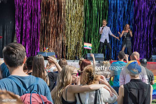 Entertainment provided at the end point of the parade in Folkets Park Parade closing the Rainbow festival Malmö Pride 2015 After a week long Pride...