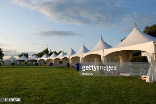 Entertainment tent at sunset.