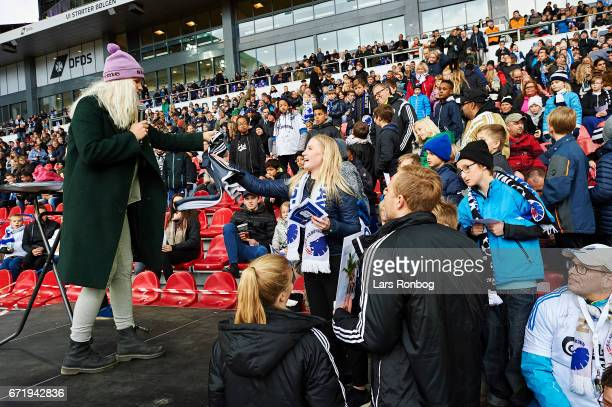Entertainment with celebreties and children on the DFDS Family Stand prior to the Danish Alka Superliga match between FC Copenhagen and FC...