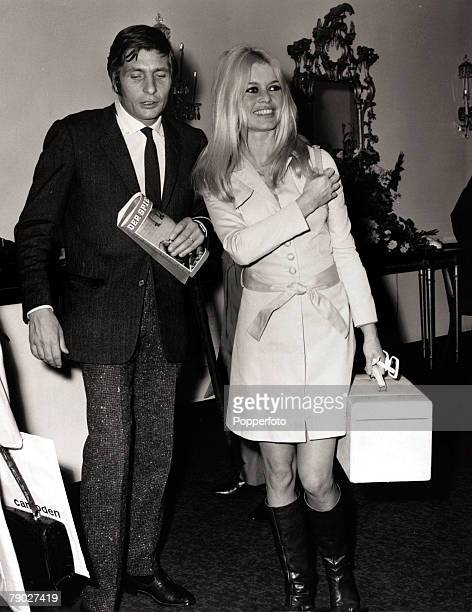 Entertainment/Cinema 24th September 1966 French actress Brigitte Bardot pictured in London with her husband Gunther Sachs