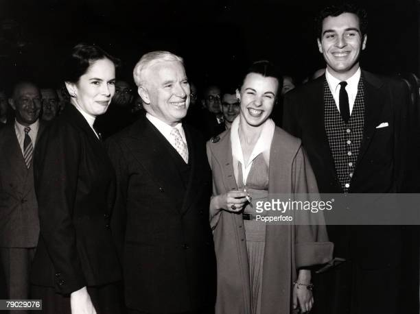 Entertainment/Cinema England 24th September 1952 The Chaplin family pictured at a London film premiere From left to right Oona Chaplin Charlie...