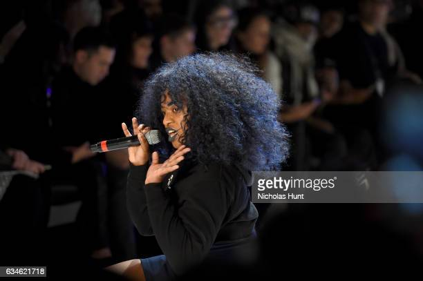 UNIIQU3 entertains the guests during the Chromat collection at New York Fashion Week The Shows at Gallery 3 Skylight Clarkson Sq on February 10 2017...