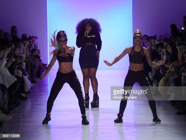 UNIIQU3 entertains the guests for the Chromat collection during New York Fashion Week The Shows at Gallery 3 Skylight Clarkson Sq on February 10 2017...