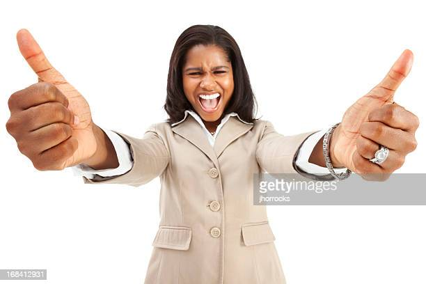 Enthusiastic Businesswoman Giving Two Thumbs Up