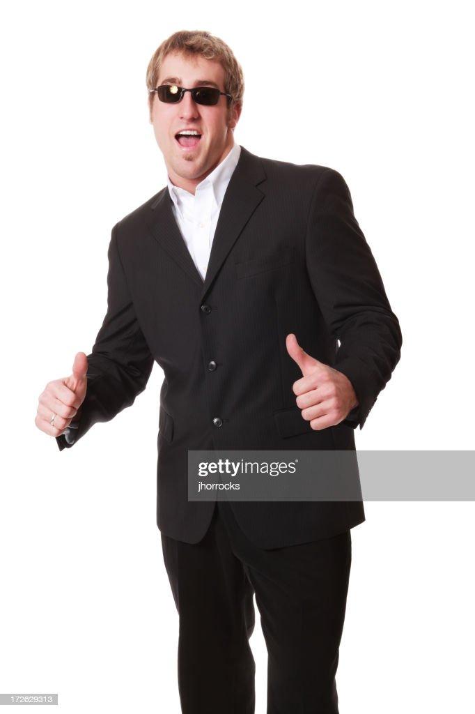 Enthusiastic Man In Black