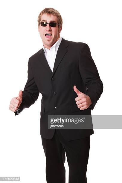 Enthusiastic Man In Black