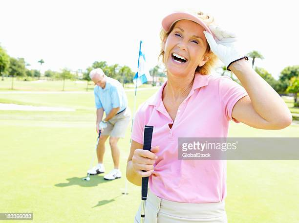 Enthusiastic woman enjoying the game