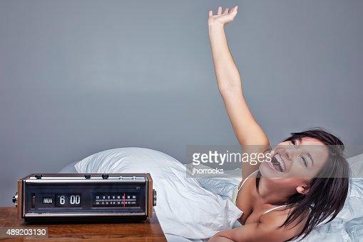 Enthusiastic Woman Waking Up on Monday Morning