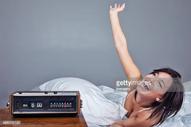 Enthusiastic Woman Waking Up on Monday Morning