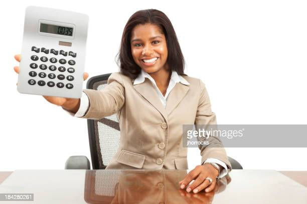 Enthusiastic Young African American Businesswoman Showing Calculator