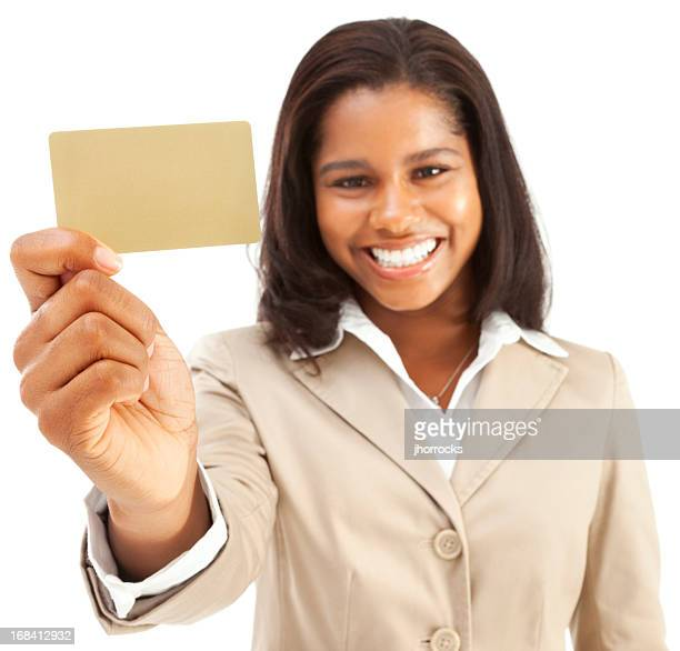 Enthusiastic Young African American Businesswoman with Blank Gold Credit Card