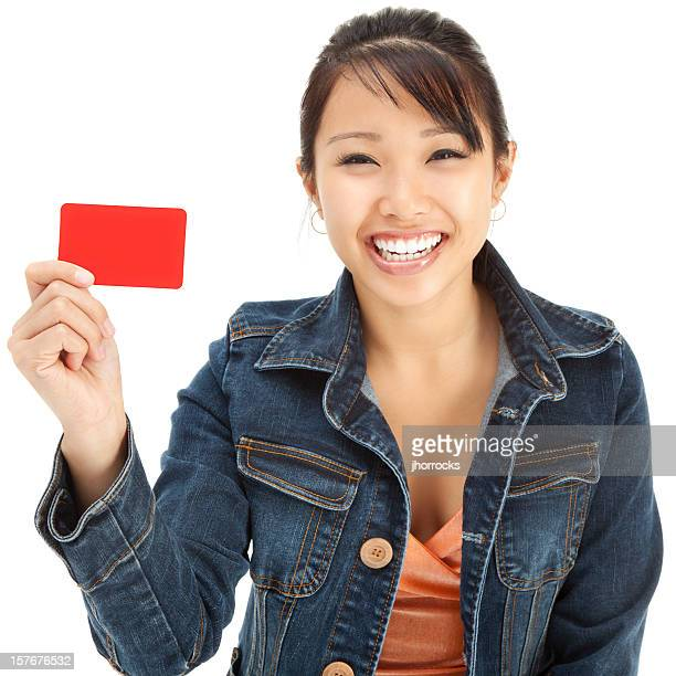 Enthusiastic Young Asian Woman with Blank Gift Card