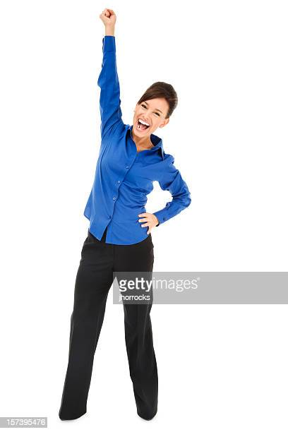Enthusiastic Young Businesswoman in Blue