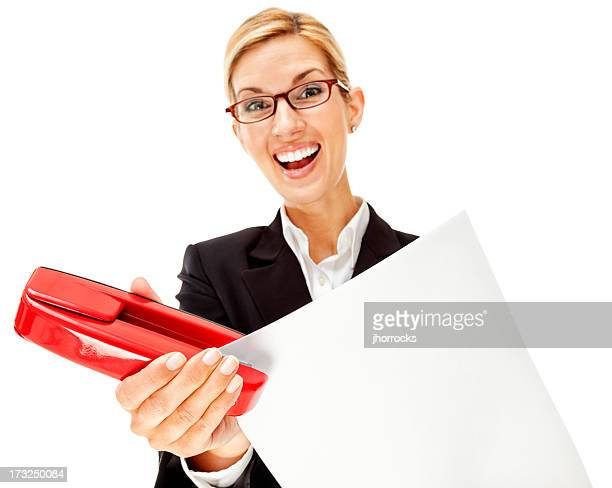 Enthusiastic Young Businesswoman with Red Stapler