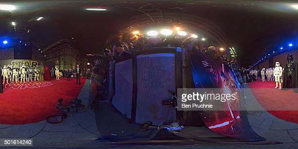 Enthusiasts dressed as characters from 'Star Wars' attend the European Premiere of 'Star Wars The Force Awakens' at Leicester Square on December 16...