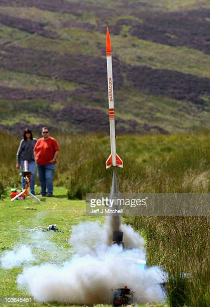 Enthusiasts launch rockets as they gather for International Rocket Week on August 26 2010 in Largs ScotlandThe IRW 2010 an event for model and...