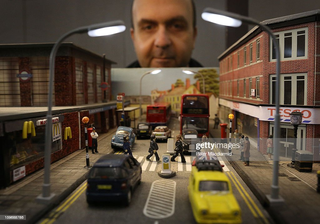 Enthusiasts operate trains at Abbey Road Tube station, which aslo depicts the Beatles' famous album cover, at The London Model Engineering Exhibition at Alexandra Palace on January 18, 2013 in London, England. The exhibition features more than a thousand models from over 50 national and regional clubs and societies. A wide range of locomotives, boats and aircraft are on show.