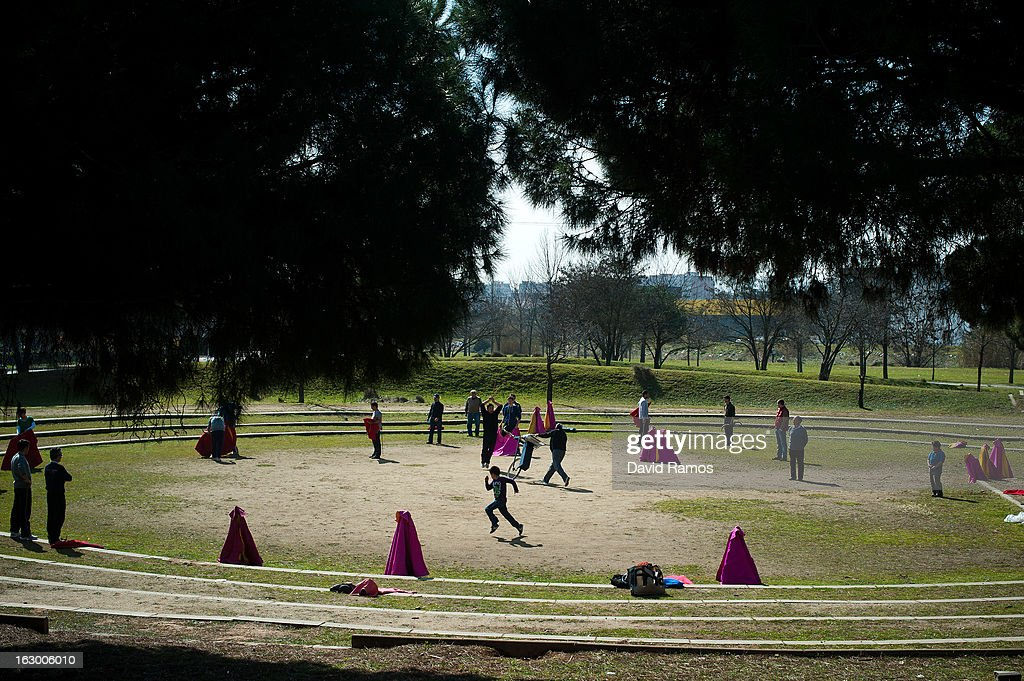 Enthusiasts practice bullfighting in a city park in Santa Perpetua de la Mogoda on March 3, 2013 in Barcelona, Spain. On February 12 the Spanish Parliament accepted a petition from bullfight supporters asking for the sport to become a key part of the Spain's cultural heritage. The petition, of 590,000 signatures, has been promoted by the Federation of Bullfighting Entities of Catalonia. The last bullfight in Catalonia was held in September 25, 2011.