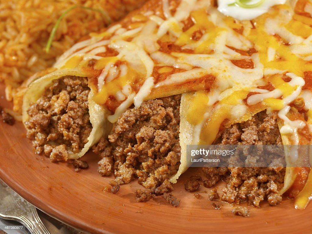 Entomadas or Beef Enchiladas : Stock Photo