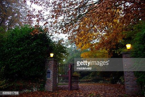 Entrance at autumn : Stock Photo
