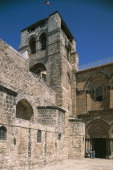 Entrance courtyard of the Basilica of the Holy Sepulchre or Church of the Resurrection Old City of Jerusalem Israel