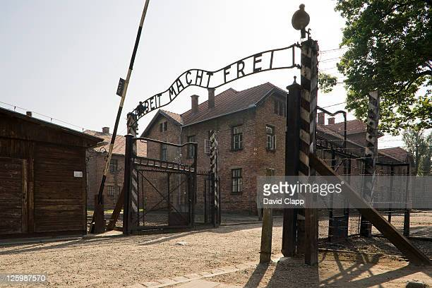 Entrance gateway into Auschwitz I, Arbeit Macht Frei - 'work sets you free' at Auschwitz Concentration Camp, Poland