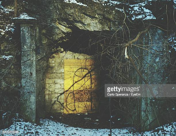 Entrance Into Cave In Winter