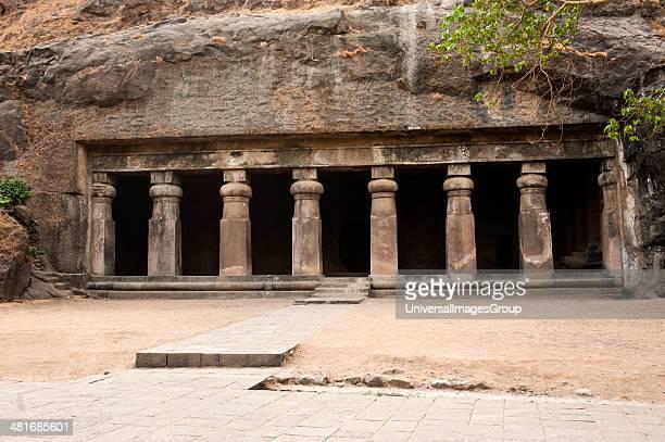 Entrance of a cave Elephanta Caves Elephanta Island Mumbai Maharashtra India