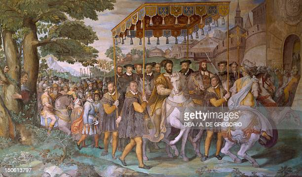 Entrance of Emperor Charles V Francis I of France and Alessandro Cardinal Farnese into Paris in 1540 detail from fresco by Taddeo Zuccari preservd in...