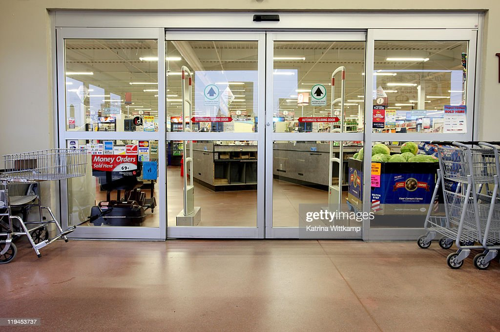 Entrance of grocery store. : Stock Photo