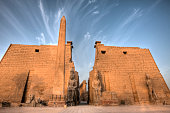 Entrance of Luxor Temple with Ramesses II Statues and Obelisk Luxor Egypt