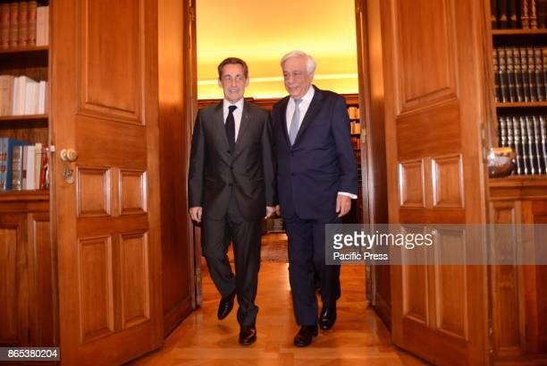 MANSION ATHENS ATTIKI GREECE Entrance of Nicola Sarkozy former President of French Republic and Prokopis Pavlopoulos President of Hellenic Republic...