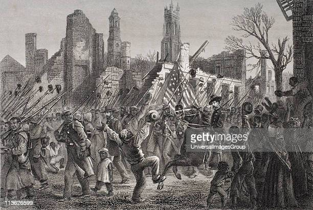 Entrance of the 55th Massachusetts Colored Regiment into Charleston West Virginia February 21 1865