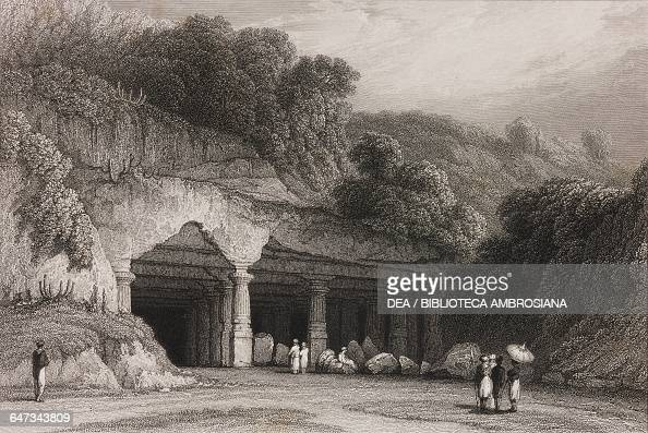 Entrance of the Cave Temple of Elephanta engraving from the original drawing by William Daniell from The oriental annual or scenes in India...