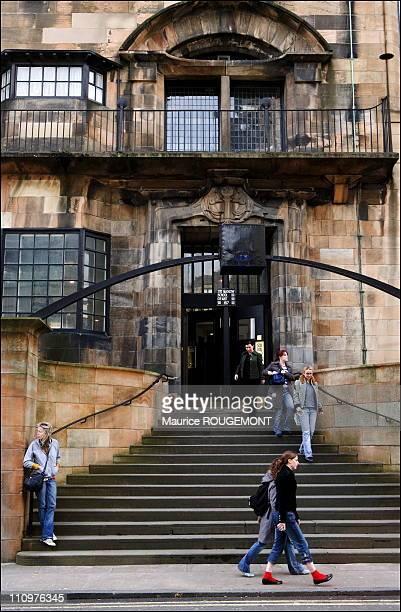 Entrance of the Glasgow School of Art deisgned by Charles Rennie Mackintosh in Glasgow United Kingdom on April 24th 2006