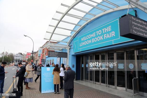Entrance of the Olympia Fair Center is seen during the 46th London Book Fair the global marketplace for rights negotiation and the sale and...