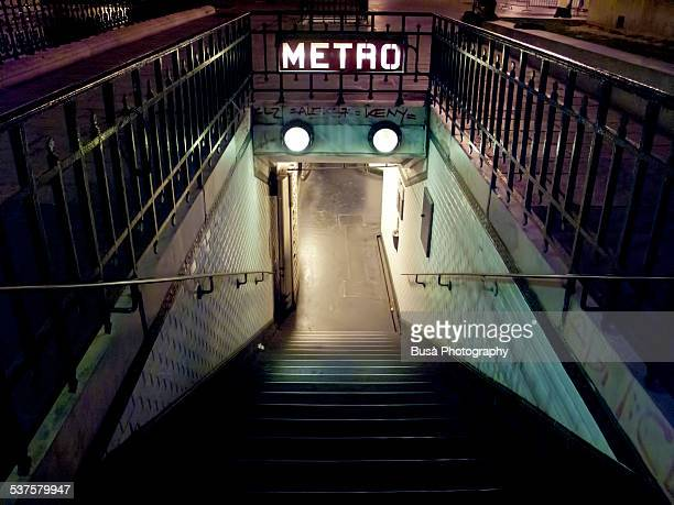 Entrance of the Paris Metro at night