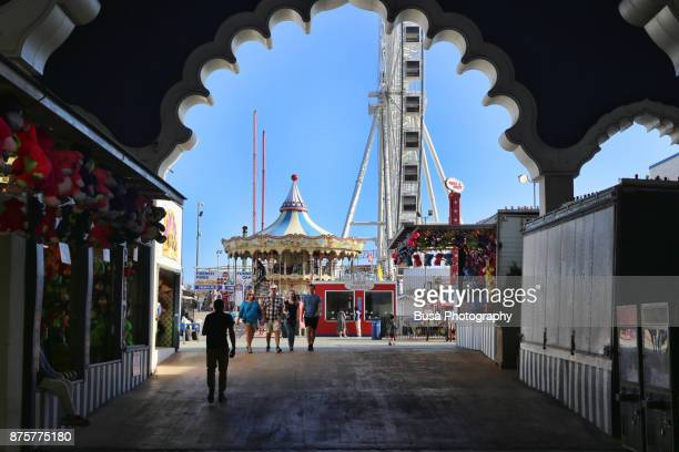 Entrance of the Steel Pier by the boardwalk, across from the Trump Taj Mahal Casino and Resort, in Atlantic City, New Jersey.