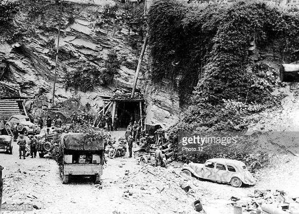 Entrance to a German underground fortress in Cherbourg after the Germans surrendered the city June 27 1944