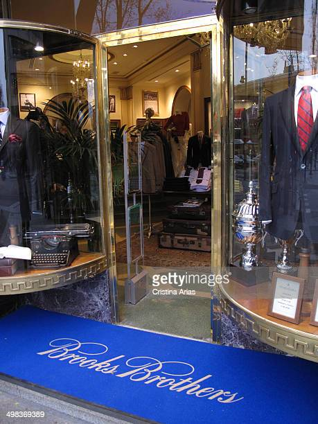 Entrance to Brooks Brothers store in Serrano street of Madrid this is the oldest men's clothier chain in the United States and it is iknown for...