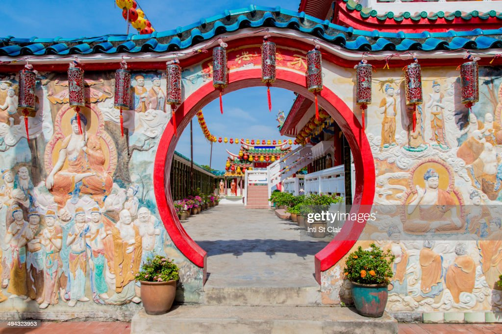 Entrance to Temple of Sukhavati, George Town, Penang, Malaysia : Stock Photo