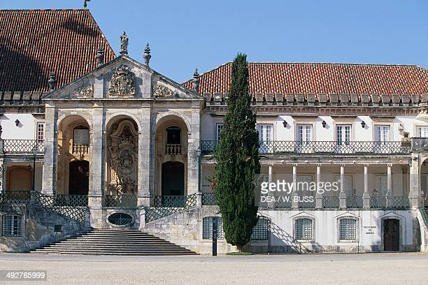 Entrance to the ancient University of Coimbra with the Via Latina colonnade 17th century Coimbra Portugal