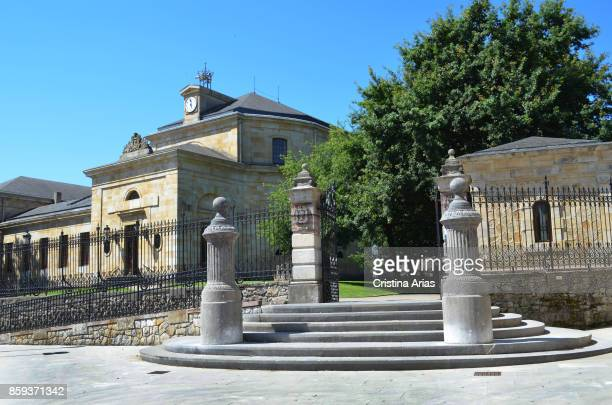 Entrance to The Assembly House Casa de Juntas in Gernika designed by architect Antonio Echevarría on 19 June 2017 Vizcaya Basque Country Spain